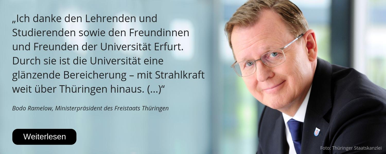 Bodo Ramelow, Ministerpräsident Thüringen, Glückwunsch, 25 Jahre Uni Erfurt