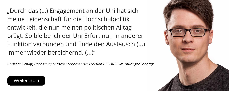Christian Schaft, Thüringer Landtag, Hochschulpolitik, 25 Jahre Uni Erfurt, Glückwunsch