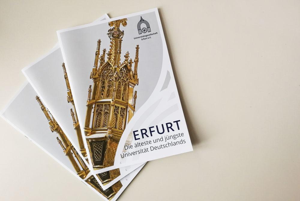 Broschüre Uni-Gesellschaft, Universitätsgesellschaft Erfurt, Geschichte Uni Erfurt