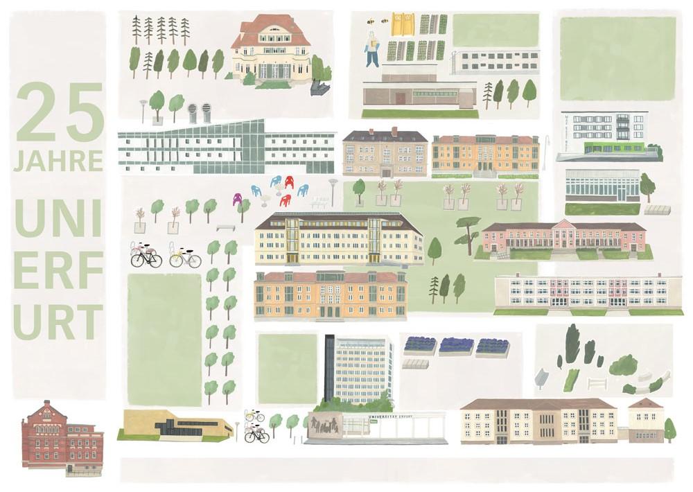 Campus-Illustration Uni Erfurt, 25 Jahre Uni Erfurt