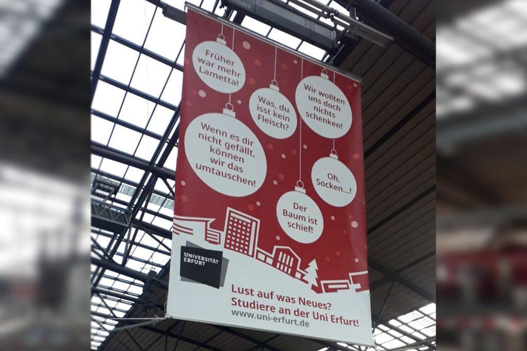 Banner Bahnhof, Bahnhofsbanner Uni Erfurt, Lust auf was Neues?